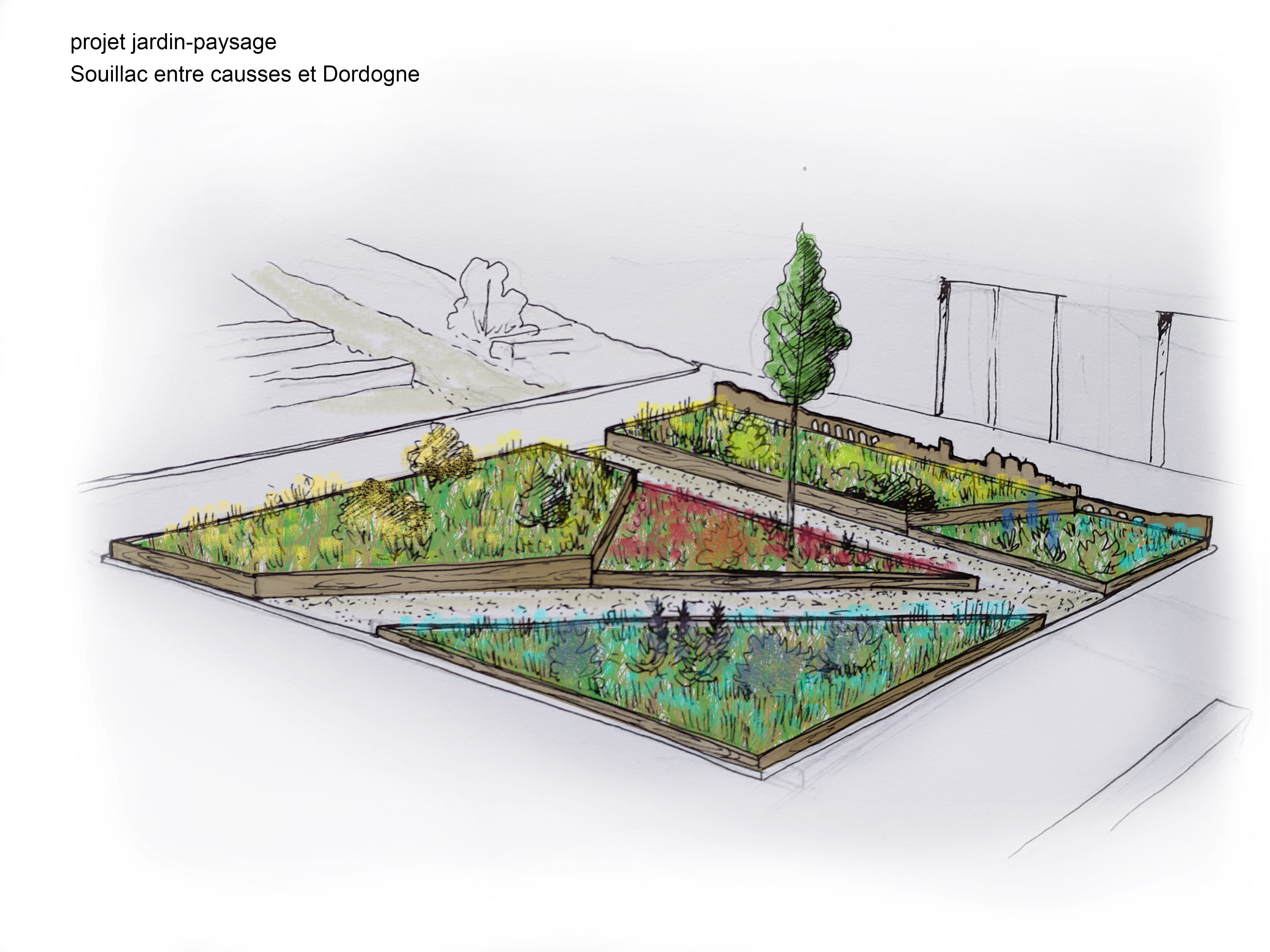 projet de la partie du jardin évoquant Souillac